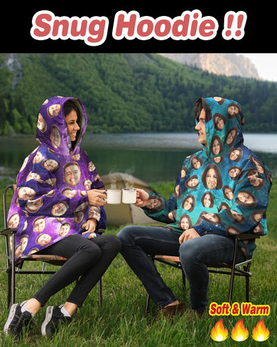 Personalized Many-Face Sherpa Snug Hoodie | Custom-Made Products | ASDF PRINT