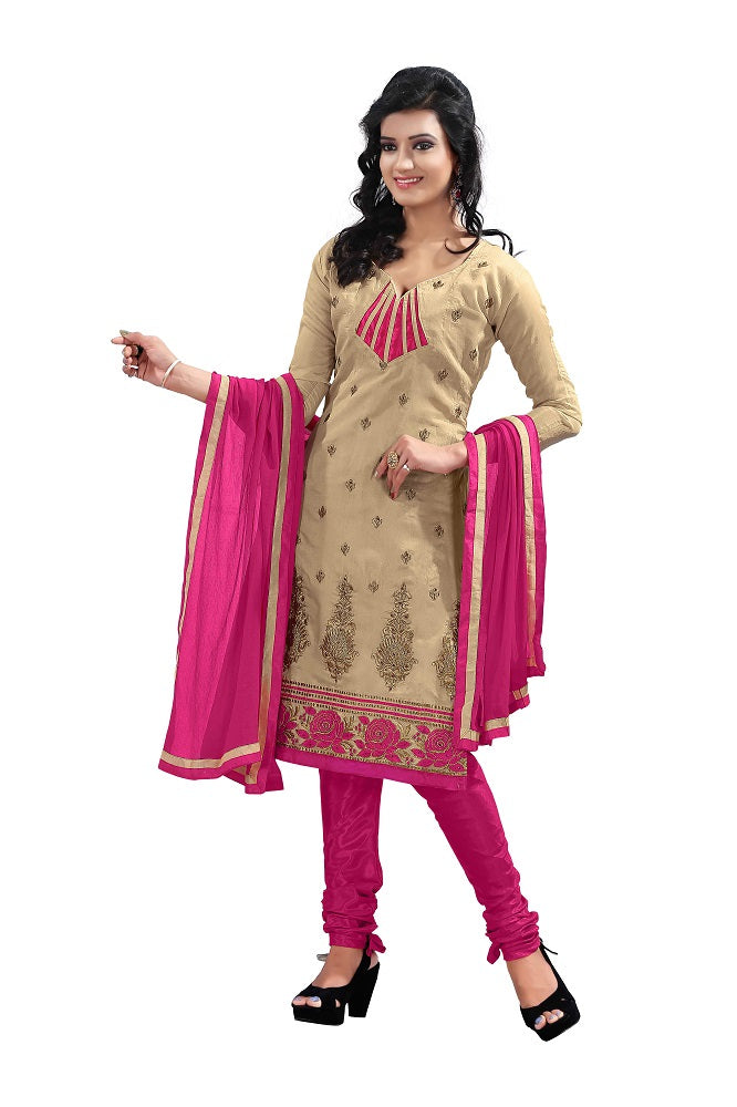 Women's Pink Bhagalpuri Salwar Suit Material With Embroidery