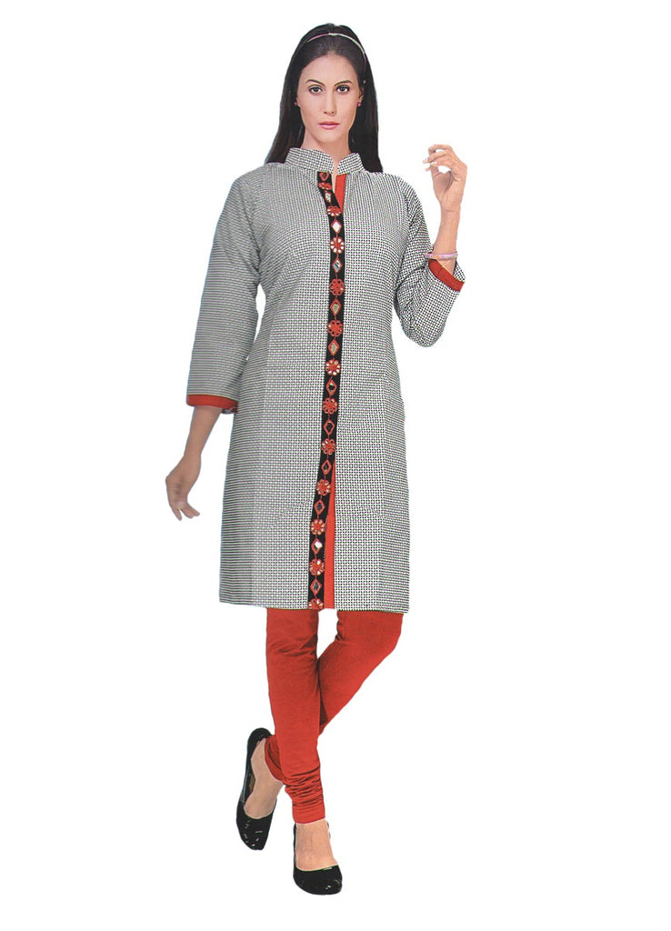 Women's Grey Printed Mirror Work Printed Kurti
