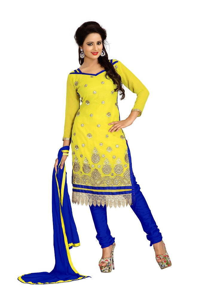 Women's Women's Georgette Embroidered Dress Material (LMAHK08 Yellow)