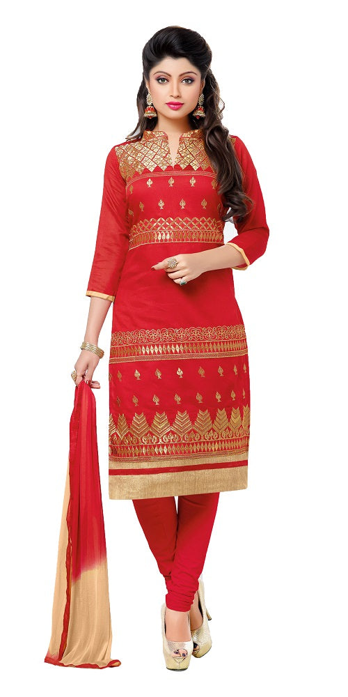Women's Chanderi Embroidered Dress Material (GFBLBL710012 Red)