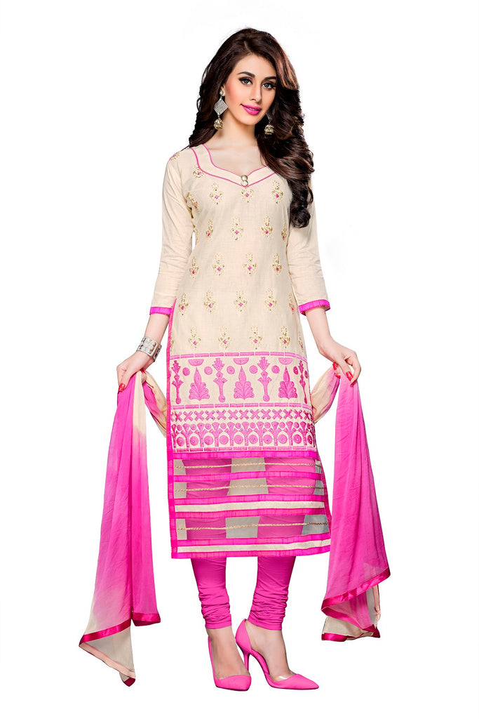 Womens Designer Cream Cotton Partywear Salwar Suit Dress Material For Womens