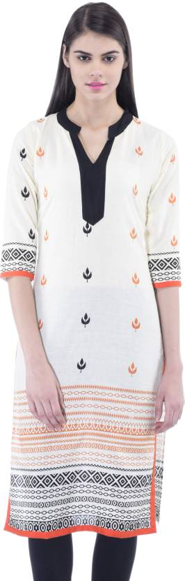 Women's Printed Cotton Knee Length Casual White Kurta