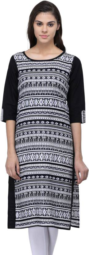 Women's  Cotton Black Front Back Printed  Straight Kurti