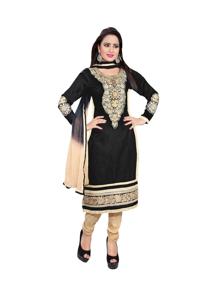 Women's Black Cotton Unstitched Embroidered Dress Material