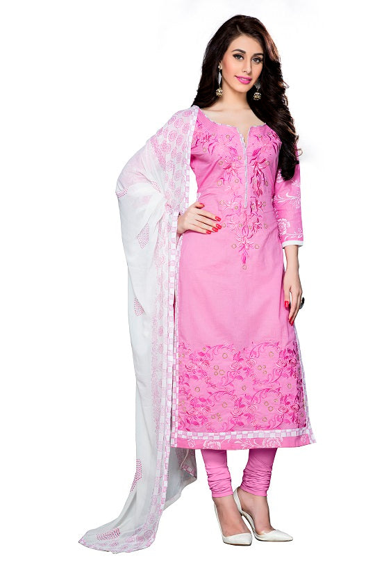 Womens Designer Light Pink Cotton Partywear Salwar Suit Dress Material For Womens
