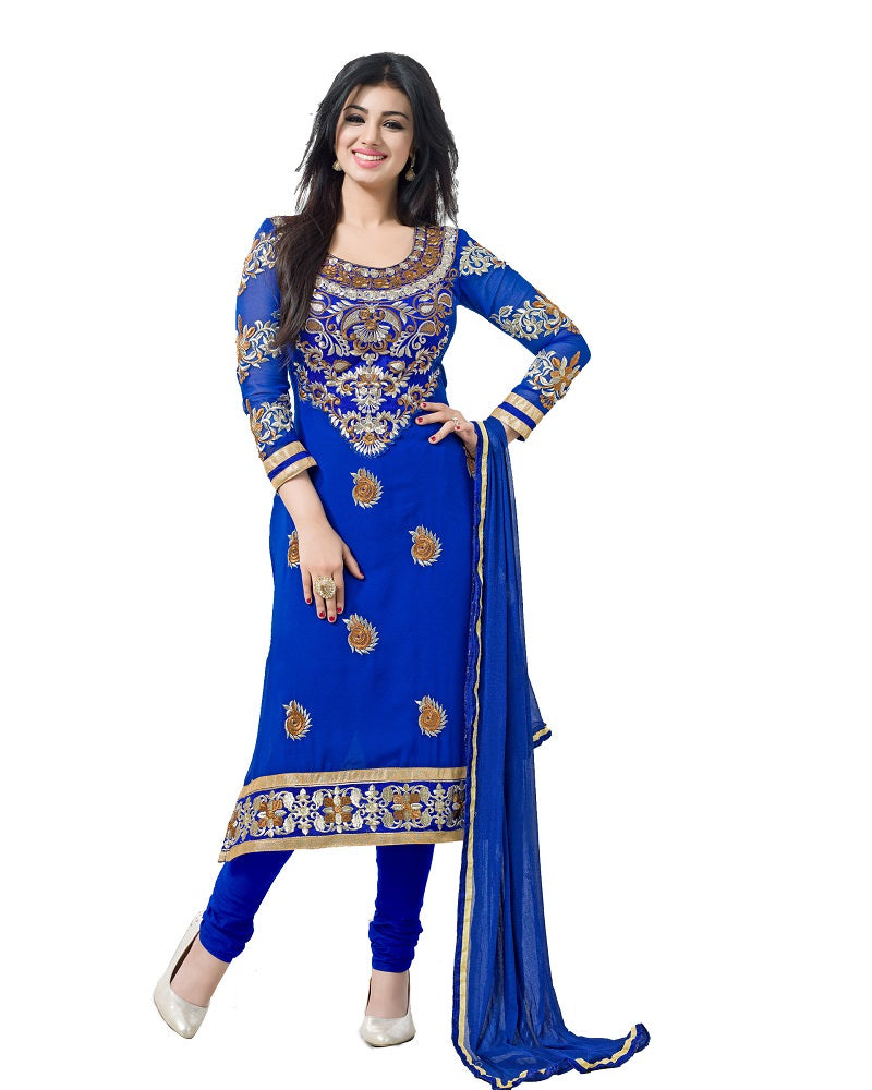 Women's Blue Georgette Embroidered Party Wear Suit