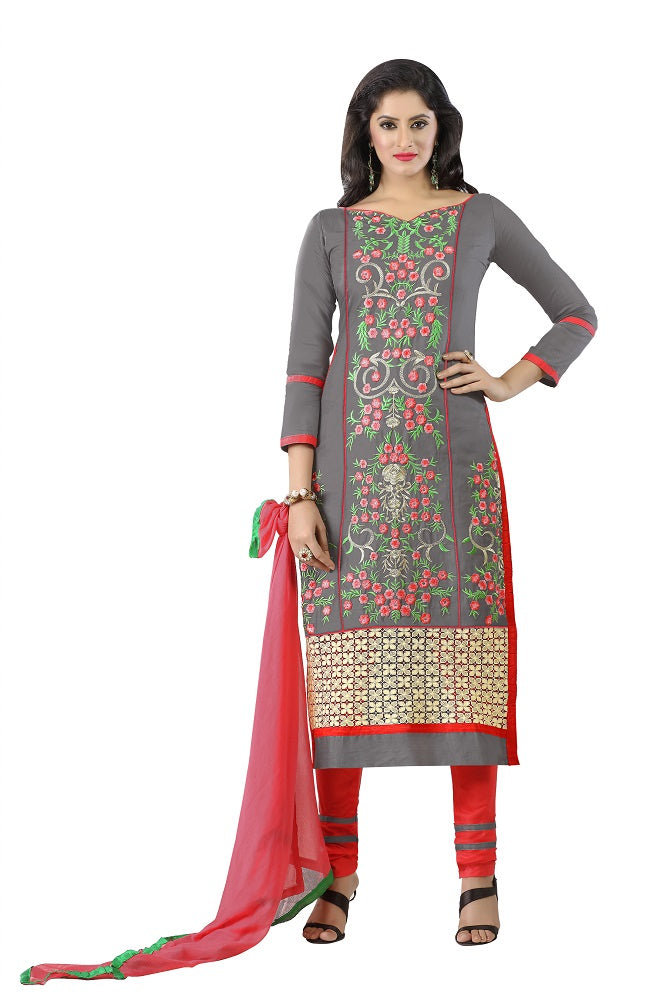 Womens Designer Grey Cotton Partywear Salwar Suit Dress Material For Womens