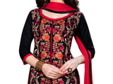 Black Cotton Embroidered Straight Suit Material