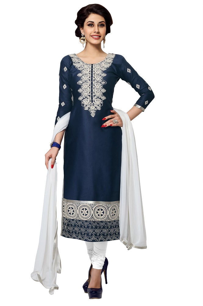 Women's Cotton Unstitched Embroidered Salwar suit set (MDSBA406)