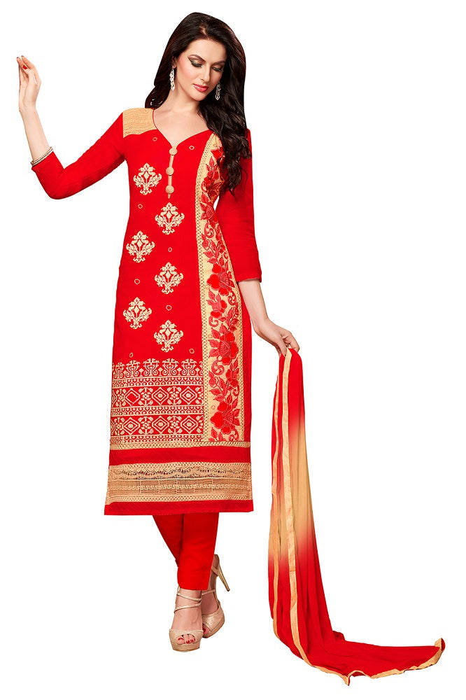 Red & Beige Glaze Cotton Embroidered Party Wear Dress Material