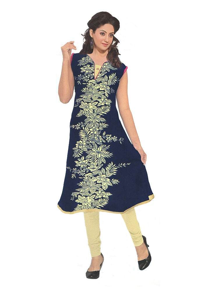 Women's Blue Floral Printed Anarkali Flared Kurti With Chinese Collar