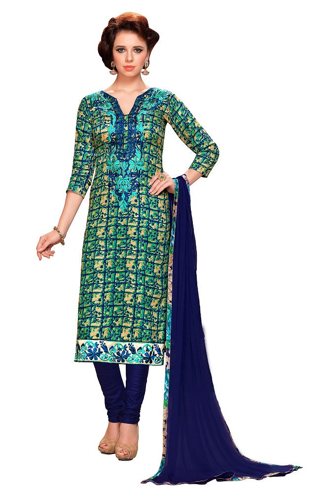 Women Pure Cotton Printed Embroidery Unstiched Churidar Suit Salwar Kameez Dress Material