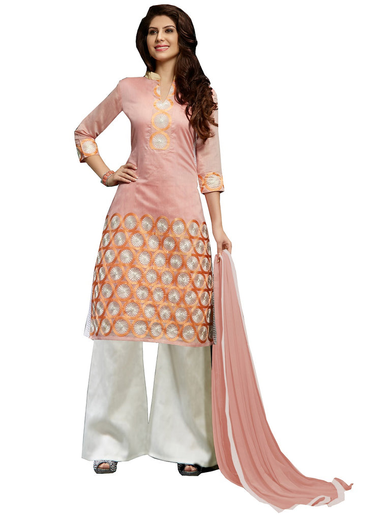 Women's Peech Bhagalpuri Salwar Suit Material With Embroidery