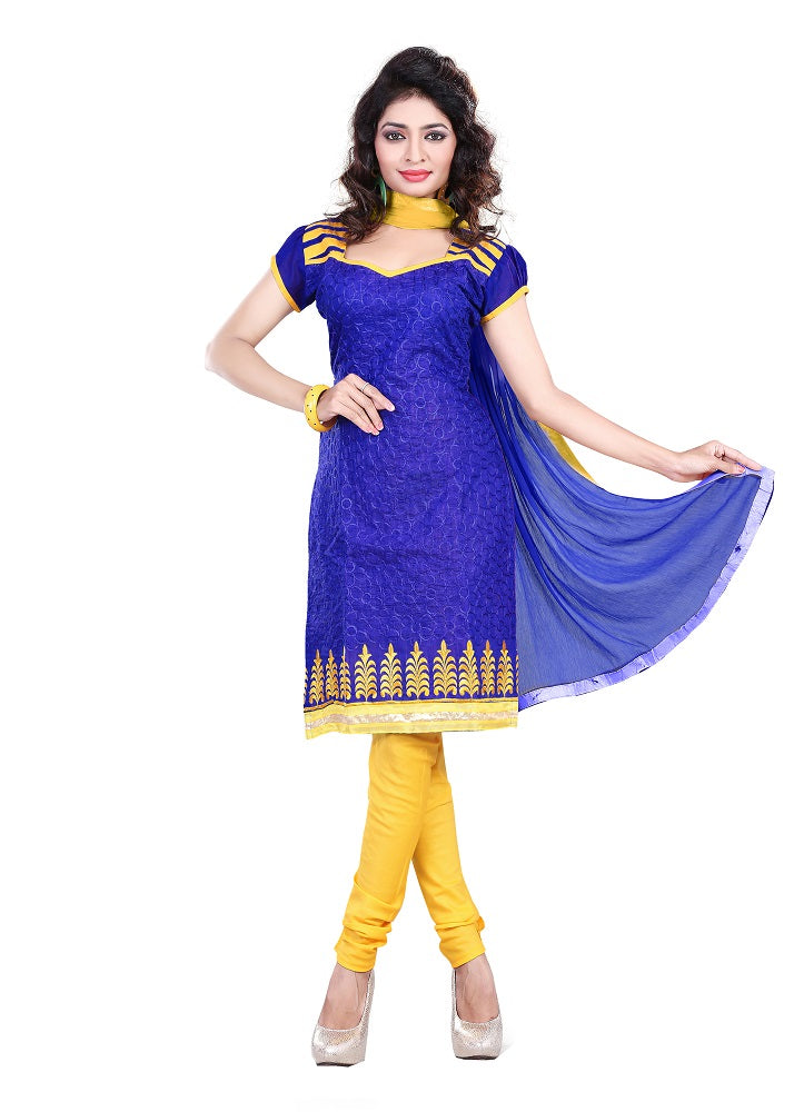 Womens Designer Blue Chanderi Partywear Salwar Suit Dress Material For Womens