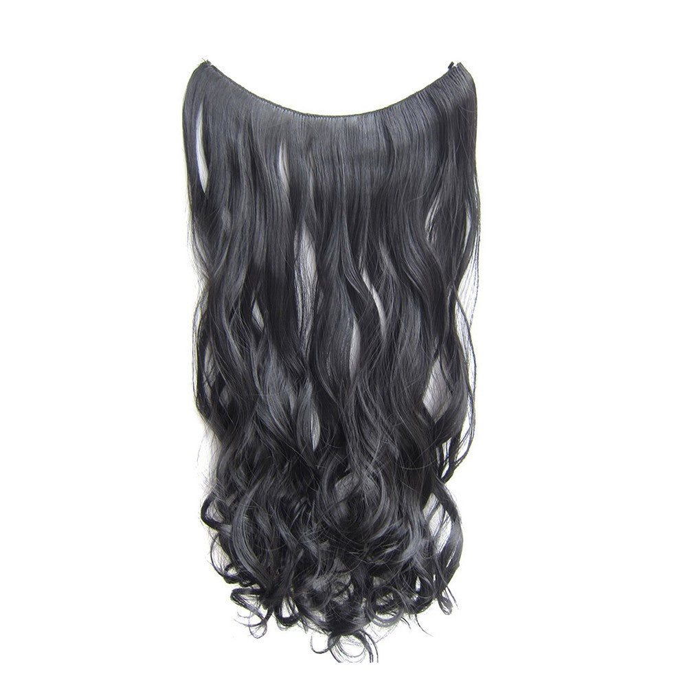 One Piece No Clip Hair Extensions Long Curly Hairpiece Adjustable Hidden Transparent Wire Synthetic Fiber Hairpieces
