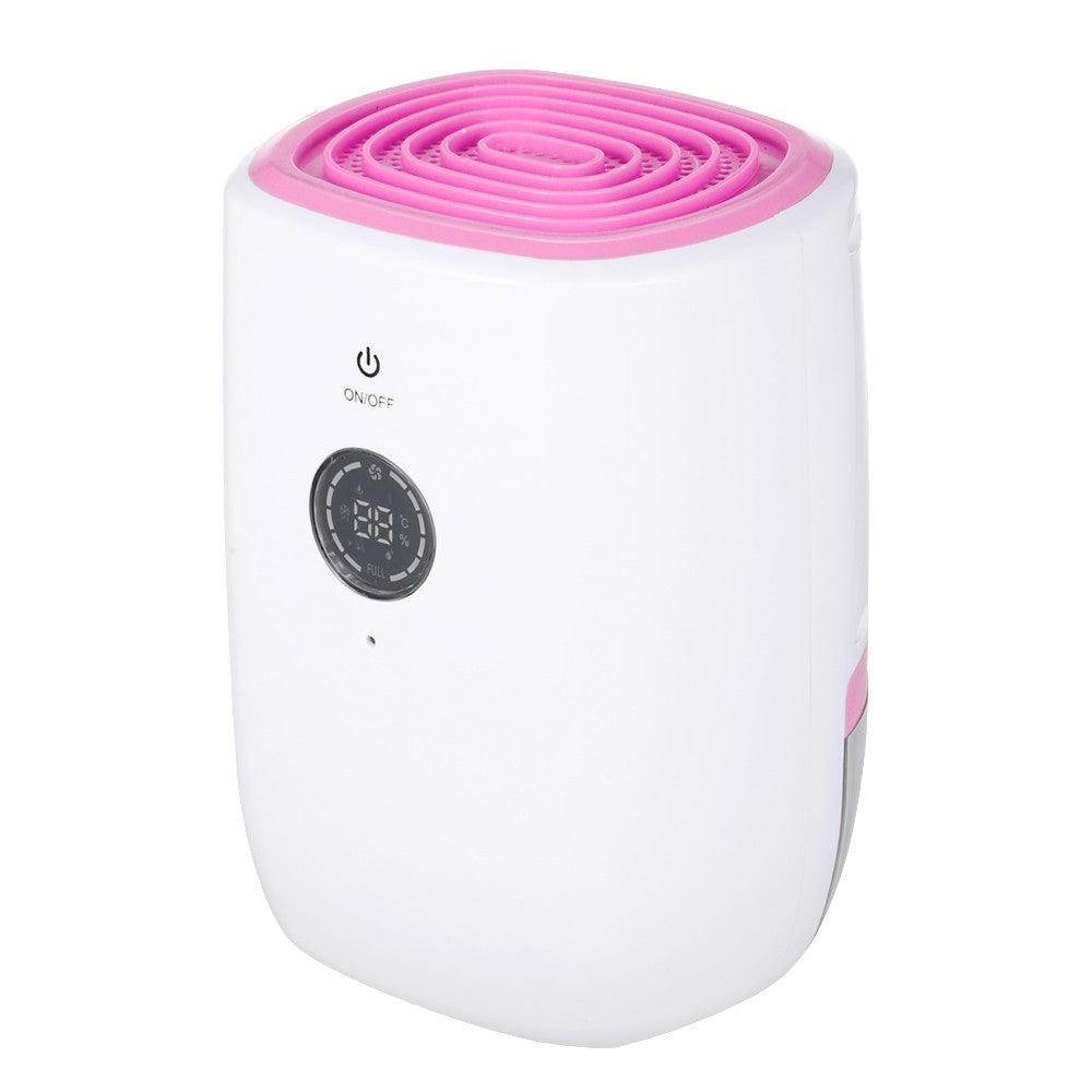 Home Use Electric Dehumidifier with 800ML Water-tank LCD Display Ultra Quiet Desiccant Moisture Absorbing Air Purifier Humidity Dryer(Pink, US-Plug)