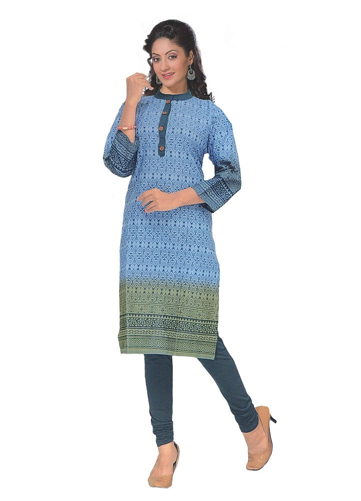 Women's  Printed Blue Straight  Formal Kurta