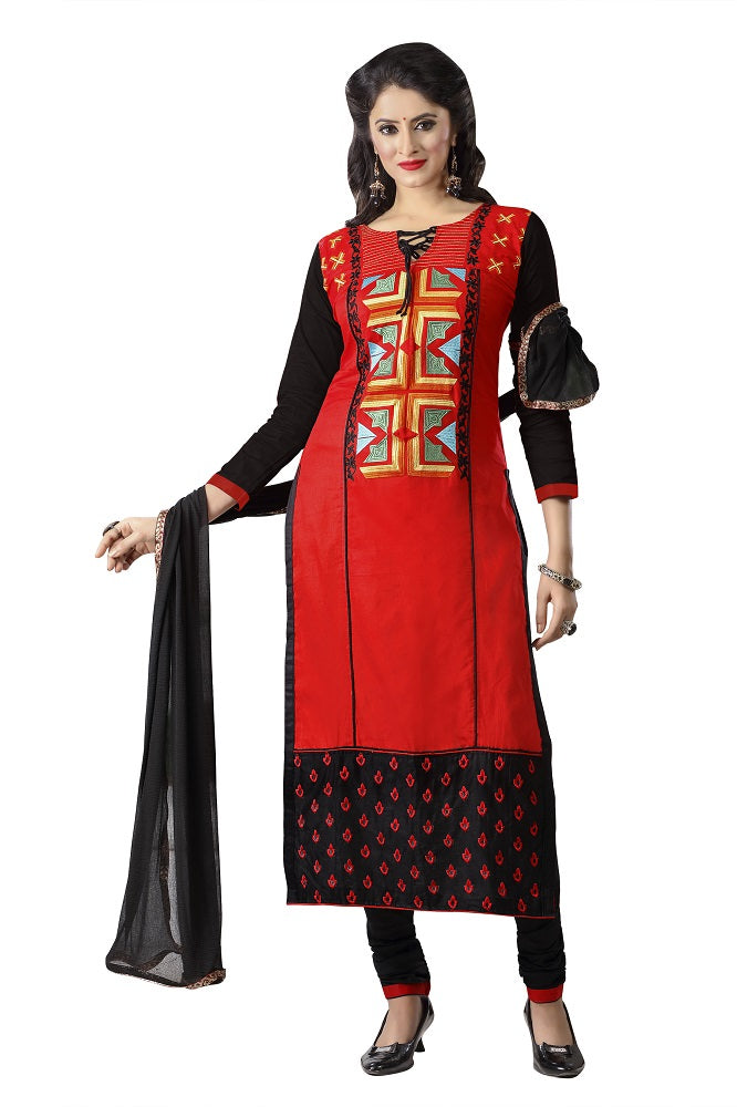 Women's Women's Cotton Embroidered Dress Material (MDMHK11 Red)