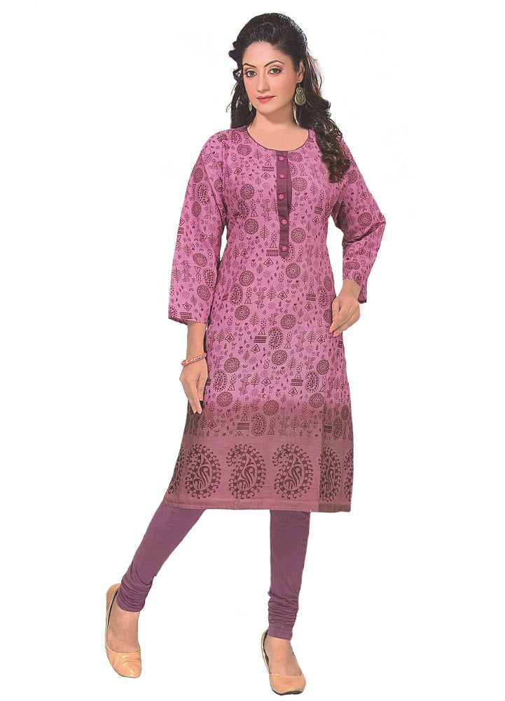 Women's  Printed Cotton Purple Casual Kurta