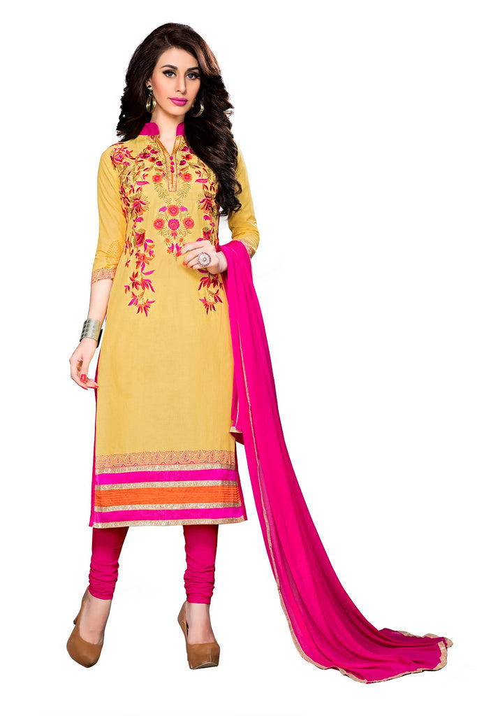 Womens Designer Yellow Cotton Partywear Salwar Suit Dress Material For Womens