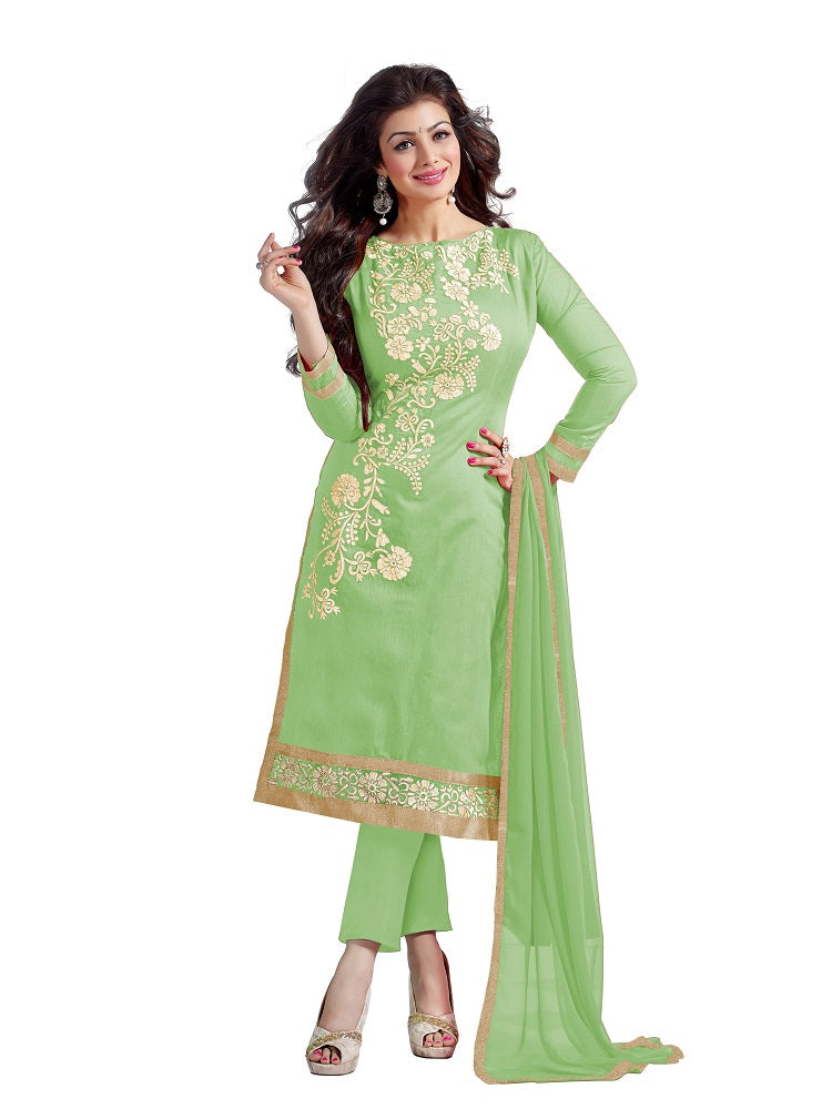 Women's Green Chanderi Embroidered Dress Material