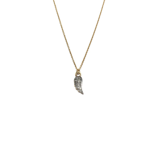 small pave diamond wing necklace