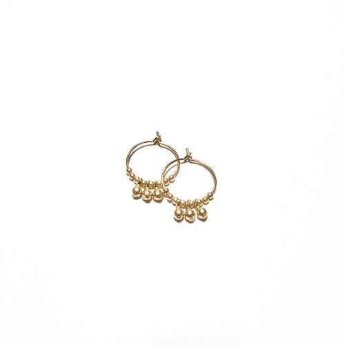 multi gold beads small hoops