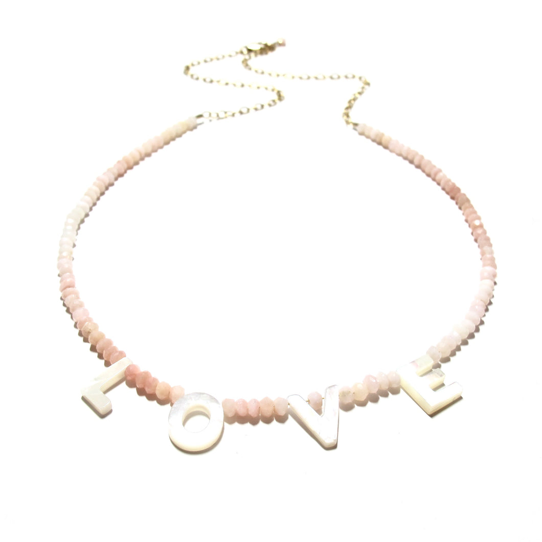 love necklace pink opals