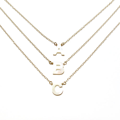 mother of pearl initial necklace