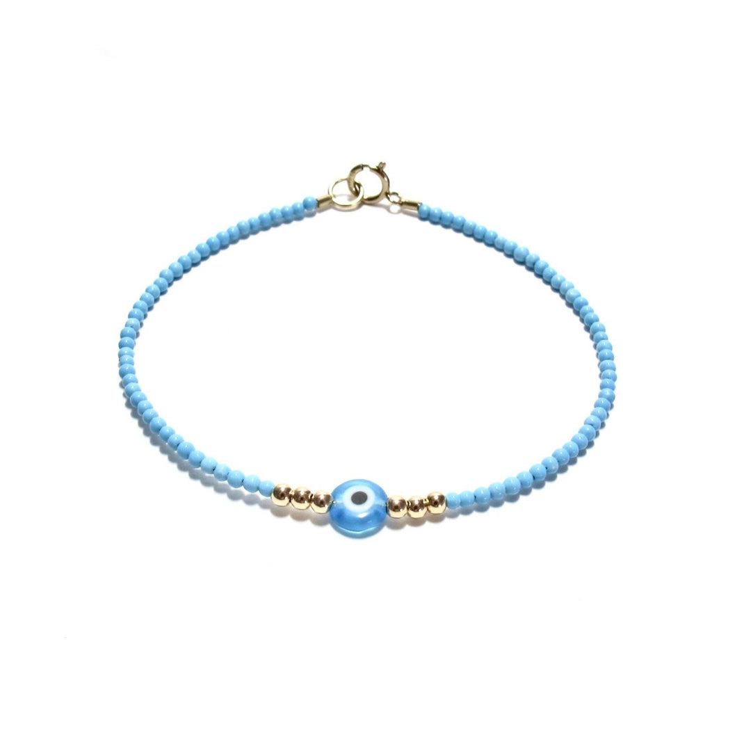 turquoise tiny beads evil eye bracelet