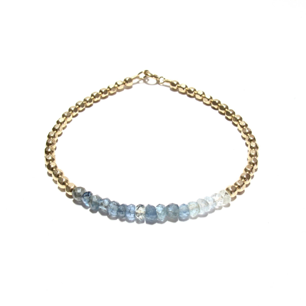 moss aquamarine line and medium faceted beads bracelet