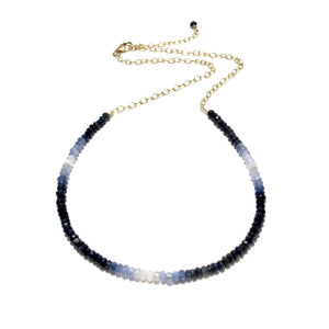 shaded blue sapphire gemstones necklace