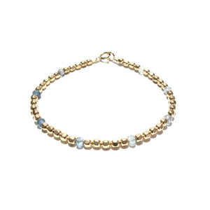 dotted moss aquamarine medium faceted beads bracelet