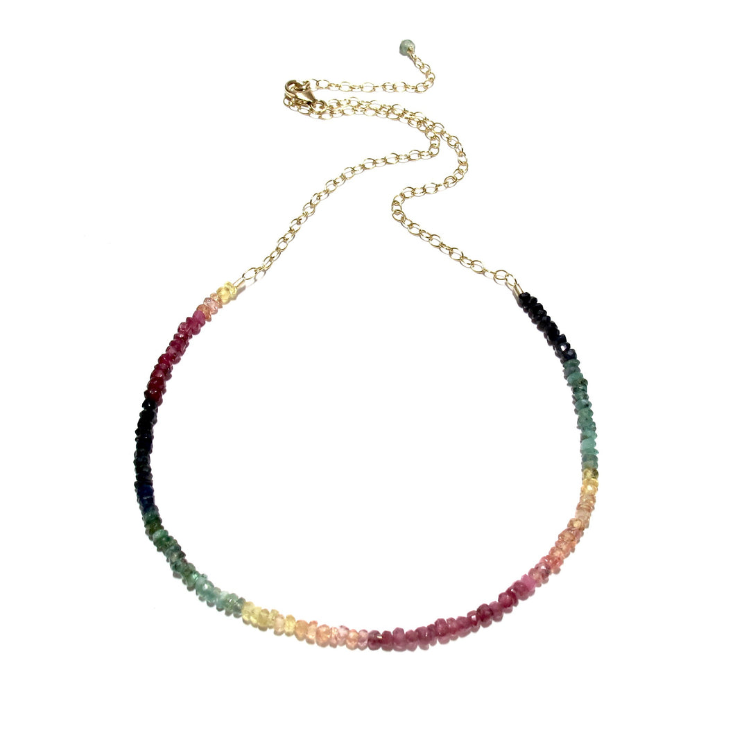 mixed rainbow gemstones necklace