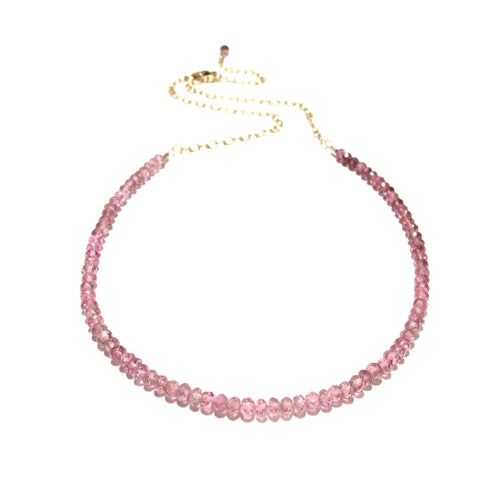 pink tourmaline gemstones necklace