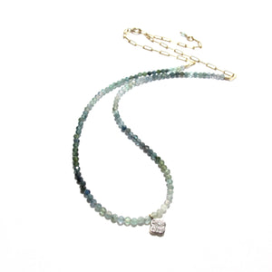moss aquamarine and diamond charm necklace