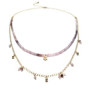shaded spinel double necklace