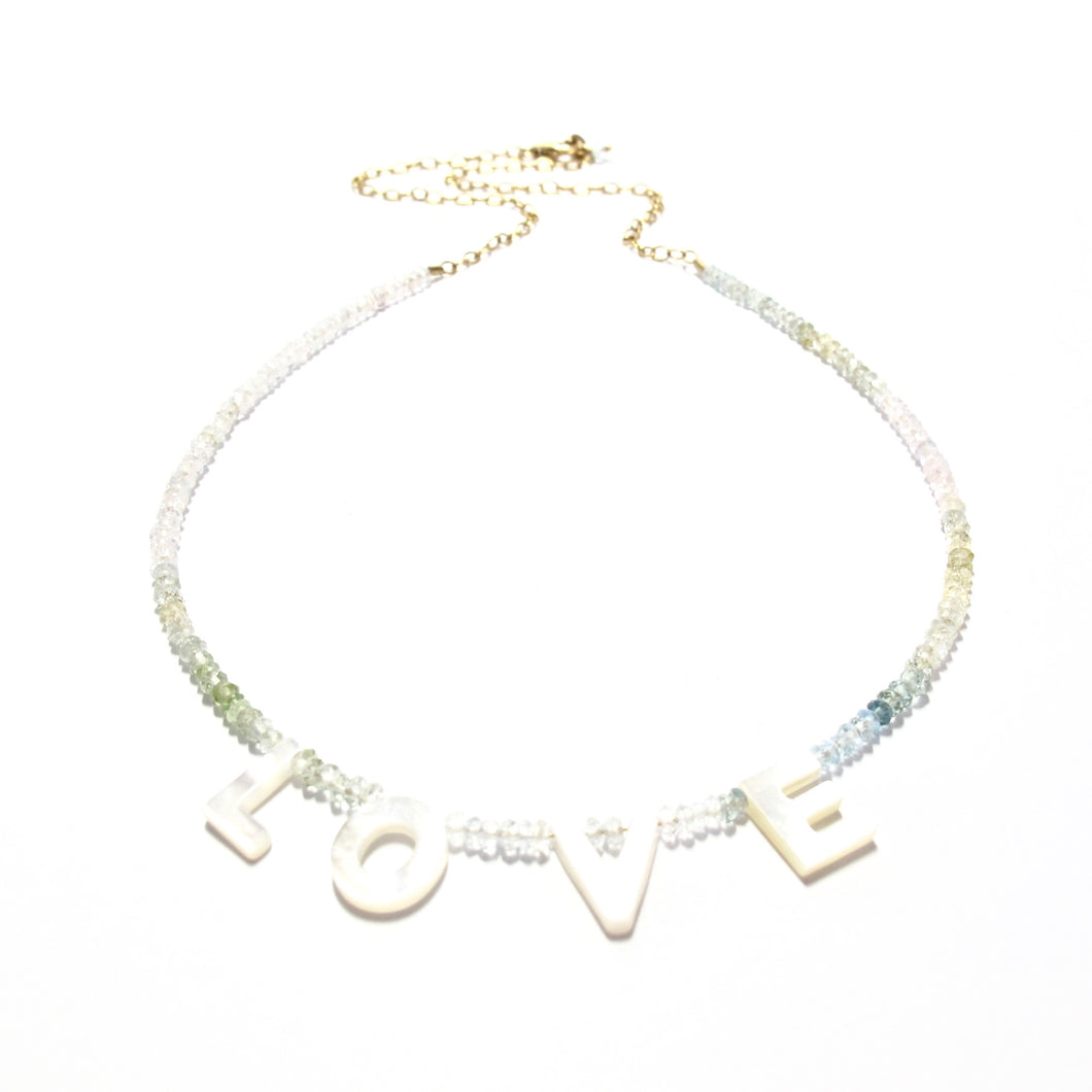love necklace aquamarine