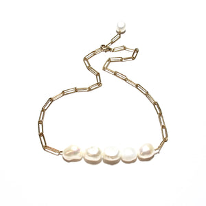 baroque pearls long link necklace