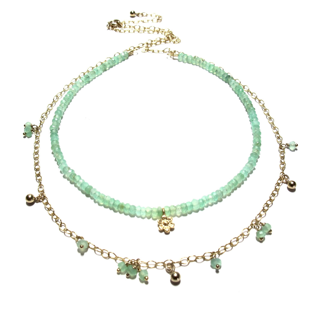 chrysoprase double necklace