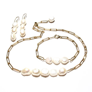 baroque pearls long link bracelet