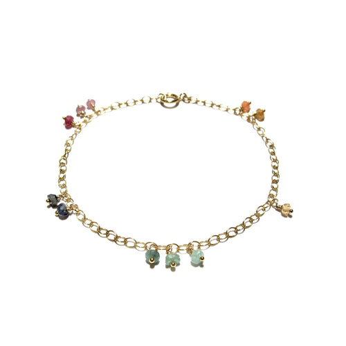 mixed gemstones chain bracelet