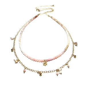 shaded pink opal double necklace