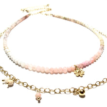 Load image into Gallery viewer, shaded pink opal double necklace
