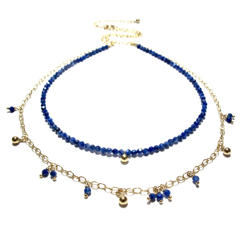 tiny lapis lazuli beads double necklace