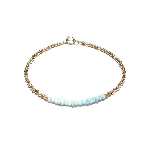 larimar line and gold beads bracelet