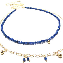 Load image into Gallery viewer, tiny lapis lazuli beads double necklace