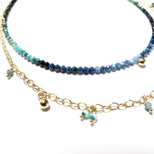 Load image into Gallery viewer, tiny shaded turquoise beads double necklace
