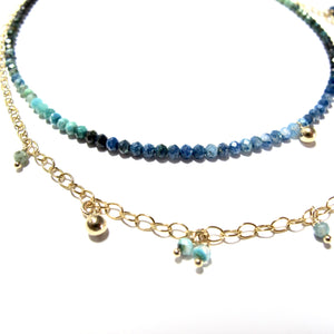tiny shaded turquoise beads double necklace